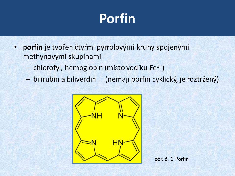 Porfin porfin je tvořen čtyřmi pyrrolovými kruhy spojenými methynovými skupinami. chlorofyl, hemoglobin (místo vodíku Fe2+)