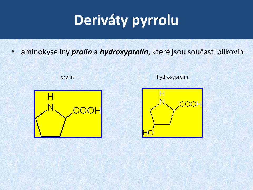 Deriváty pyrrolu aminokyseliny prolin a hydroxyprolin, které jsou součástí bílkovin.