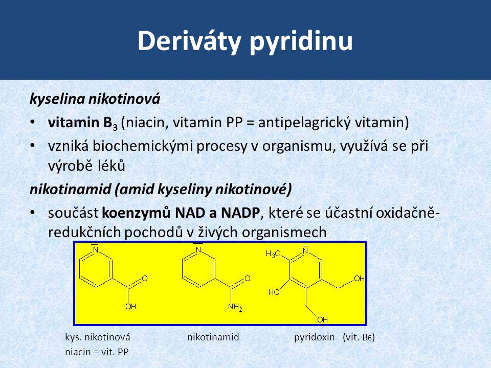 Deriváty pyridinu kyselina nikotinová