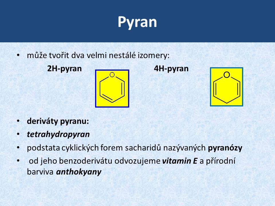 Pyran může tvořit dva velmi nestálé izomery: 2H-pyran 4H-pyran