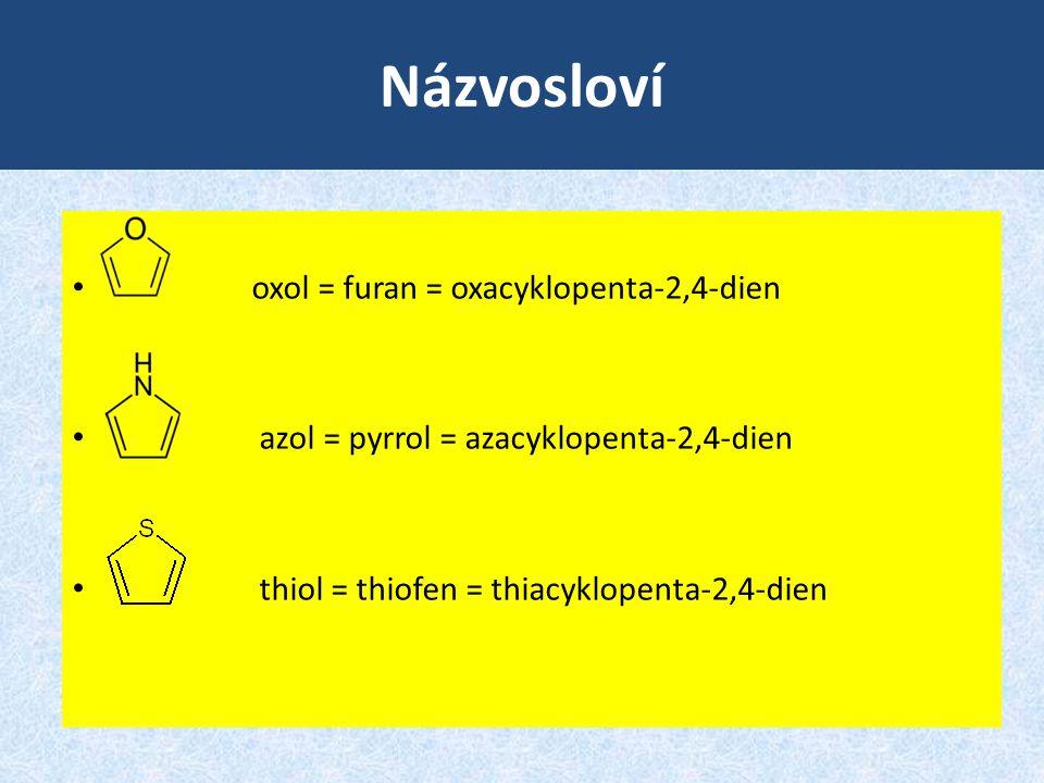 Názvosloví oxol = furan = oxacyklopenta-2,4-dien