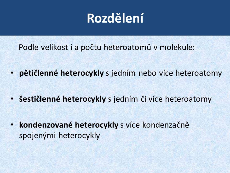 Rozdělení Podle velikost i a počtu heteroatomů v molekule: