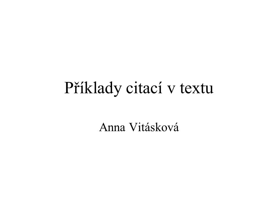 Příklady citací v textu