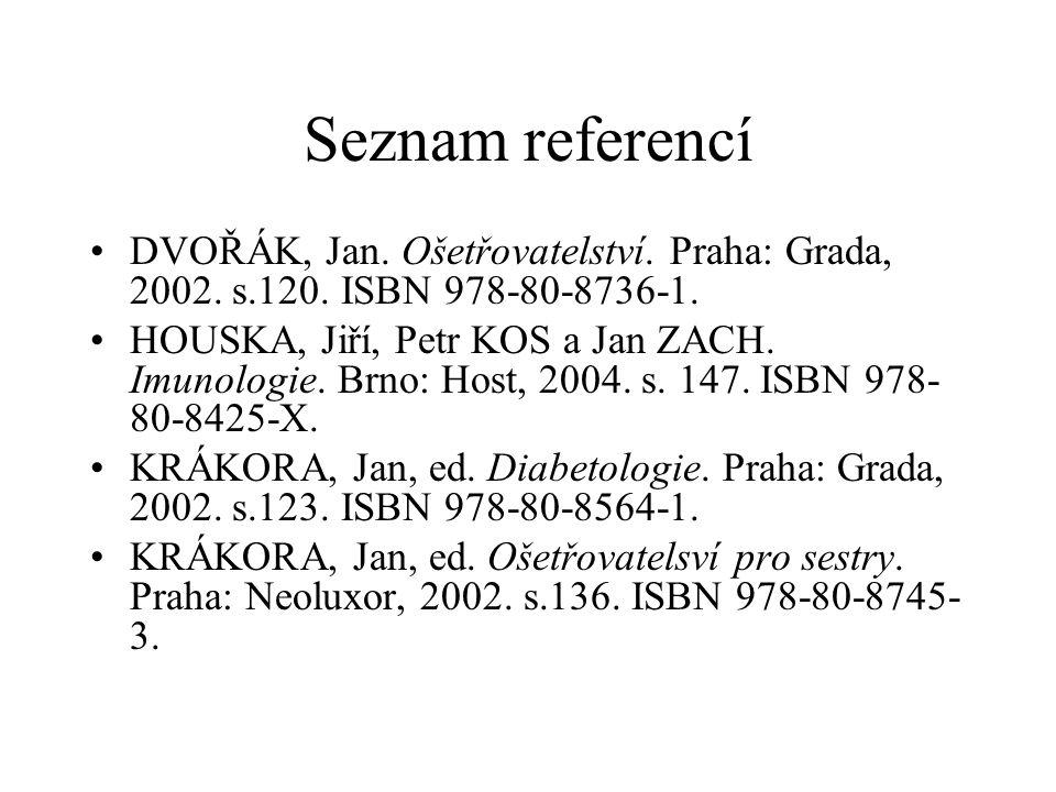 Seznam referencí DVOŘÁK, Jan. Ošetřovatelství. Praha: Grada, 2002. s.120. ISBN 978-80-8736-1.