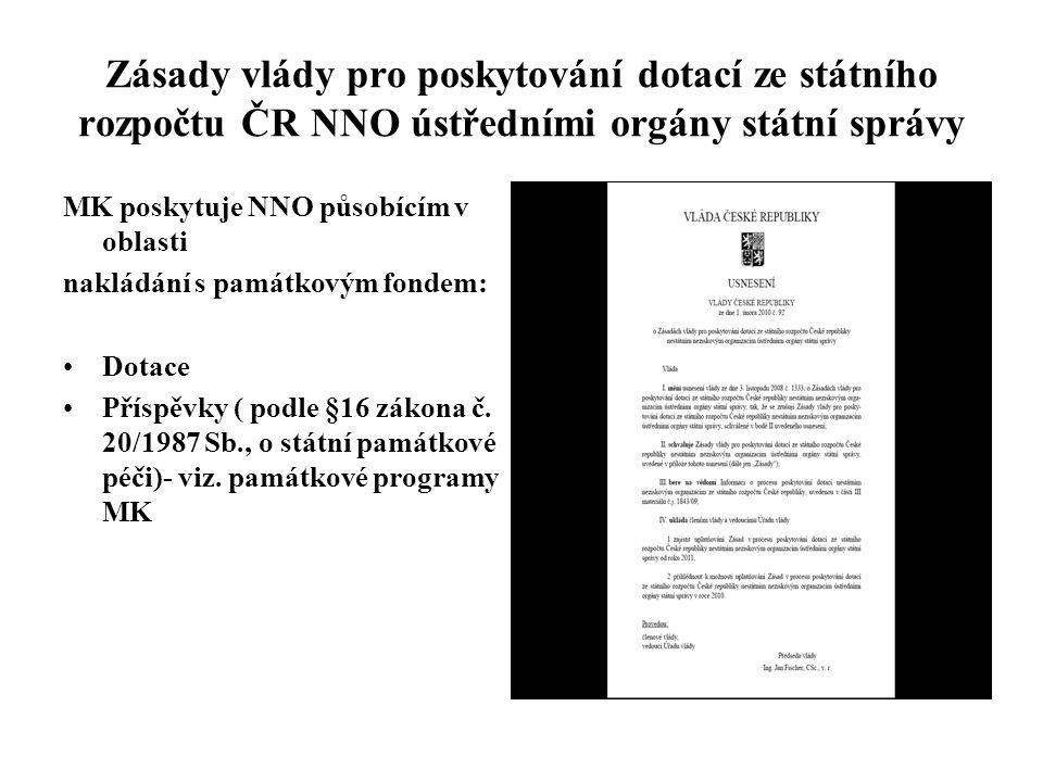 Zásady vlády pro poskytování dotací ze státního rozpočtu ČR NNO ústředními orgány státní správy