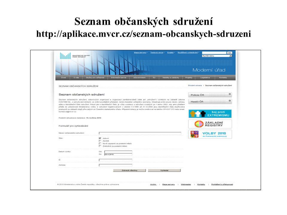 Seznam občanských sdružení http://aplikace. mvcr