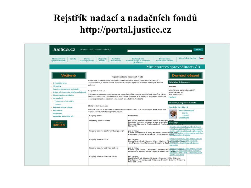 Rejstřík nadací a nadačních fondů http://portal.justice.cz