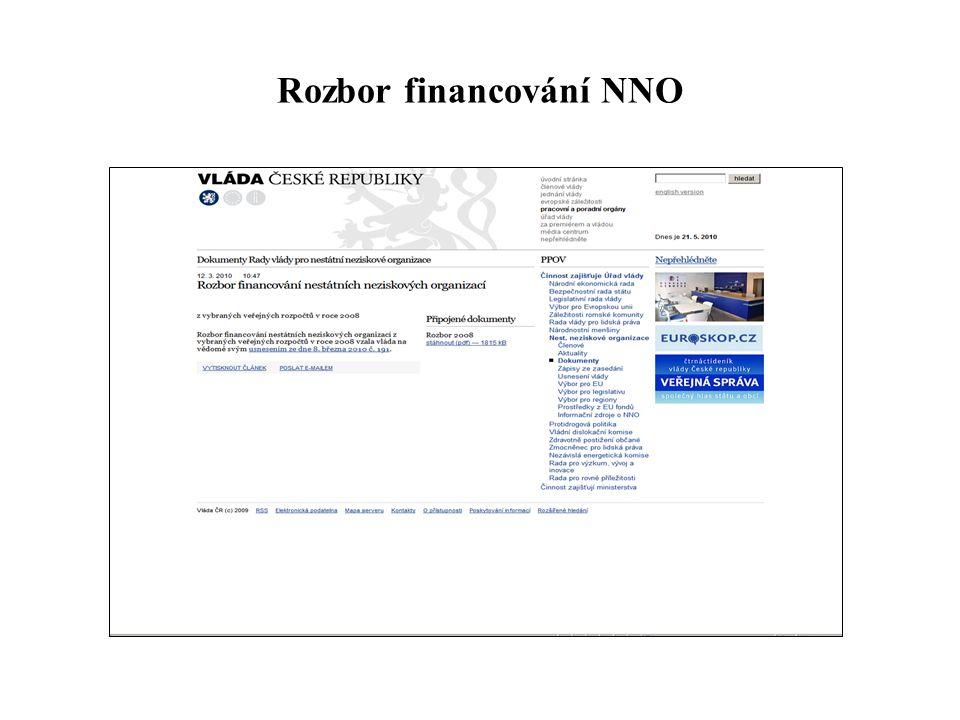 Rozbor financování NNO