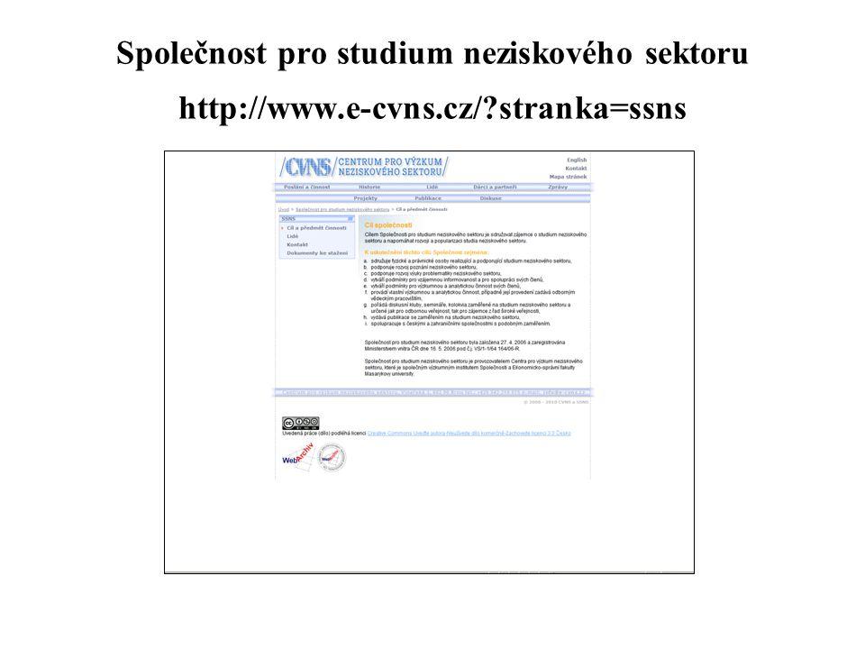 Společnost pro studium neziskového sektoru http://www. e-cvns. cz/