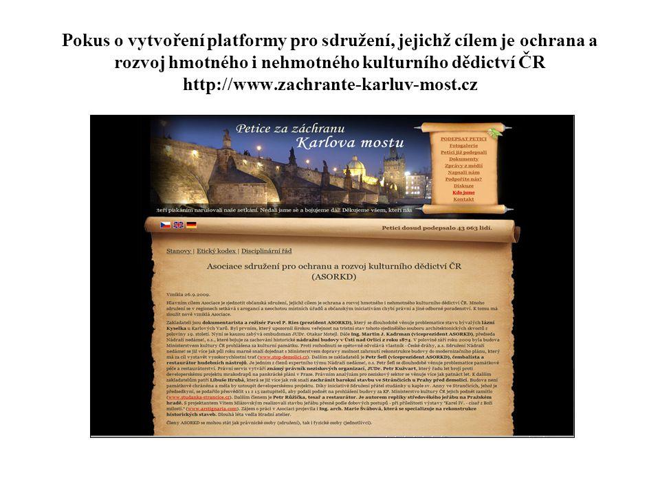 Pokus o vytvoření platformy pro sdružení, jejichž cílem je ochrana a rozvoj hmotného i nehmotného kulturního dědictví ČR http://www.zachrante-karluv-most.cz