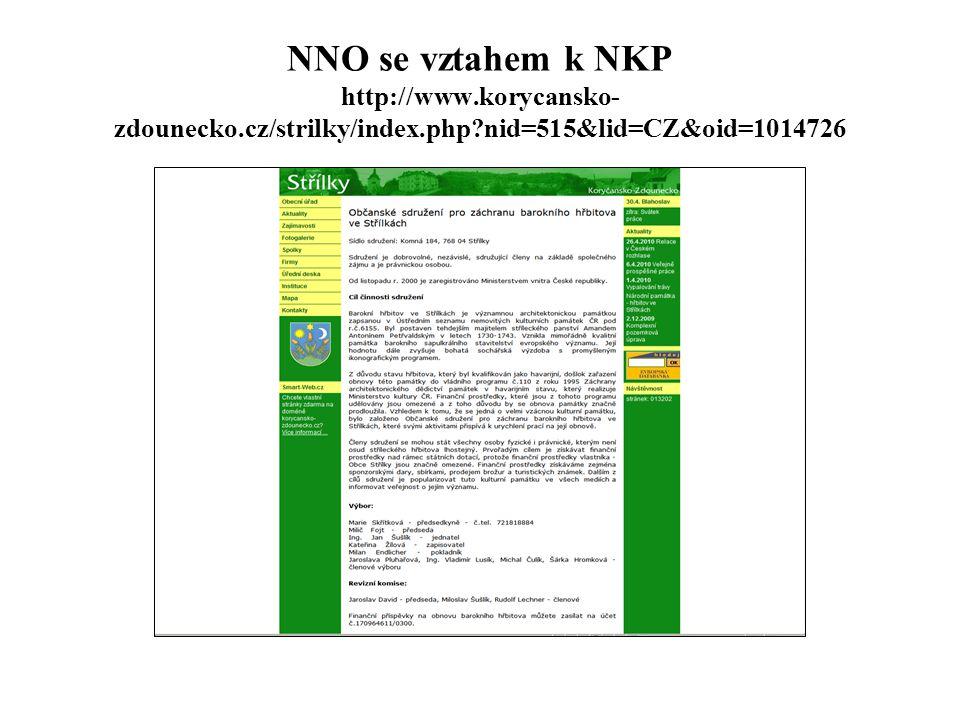 NNO se vztahem k NKP http://www.korycansko-zdounecko.cz/strilky/index.php nid=515&lid=CZ&oid=1014726