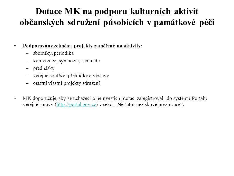 Dotace MK na podporu kulturních aktivit občanských sdružení působících v památkové péči