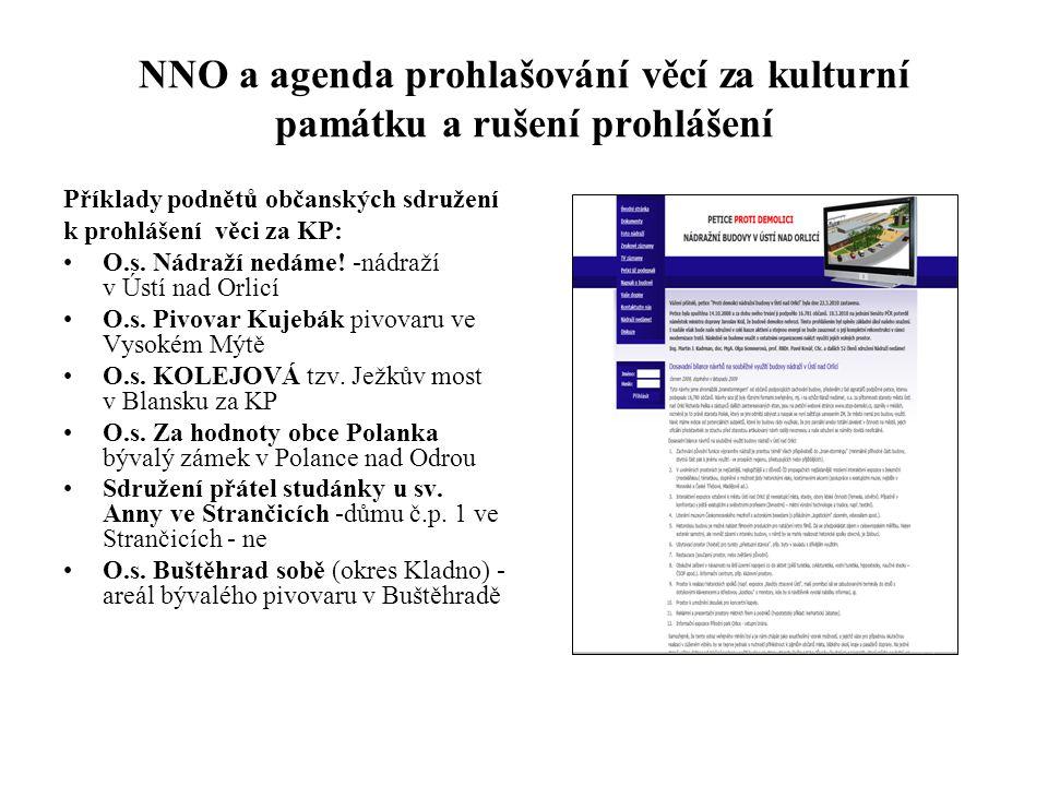 NNO a agenda prohlašování věcí za kulturní památku a rušení prohlášení
