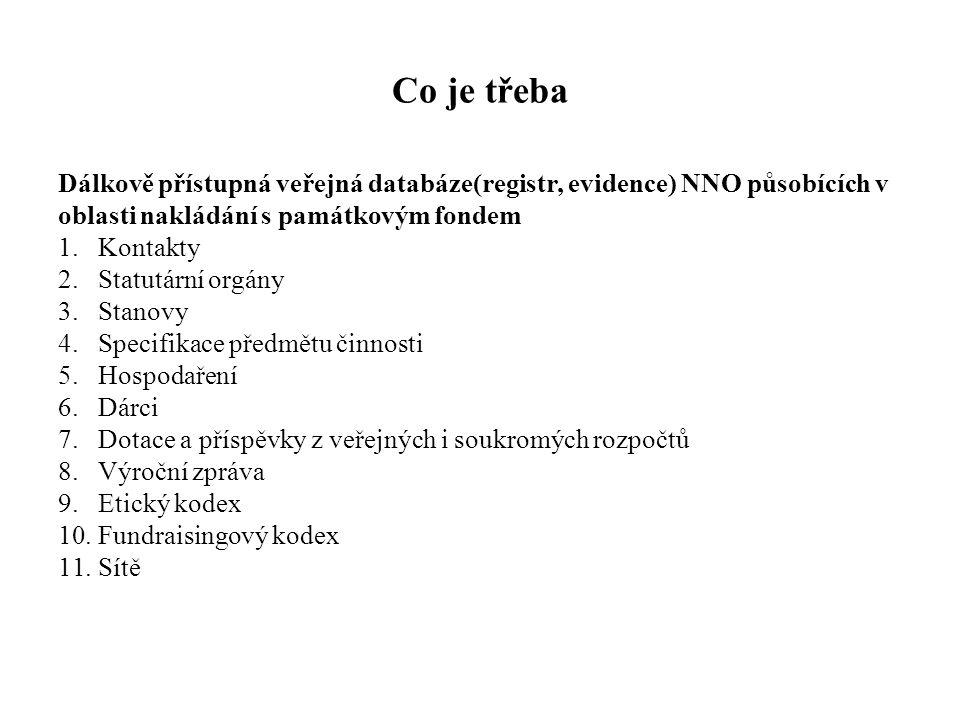 Co je třeba Dálkově přístupná veřejná databáze(registr, evidence) NNO působících v. oblasti nakládání s památkovým fondem.