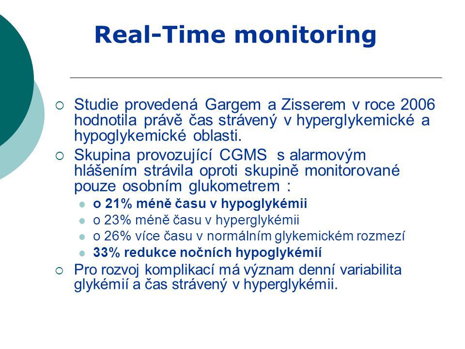 Real-Time monitoring Studie provedená Gargem a Zisserem v roce 2006 hodnotila právě čas strávený v hyperglykemické a hypoglykemické oblasti.