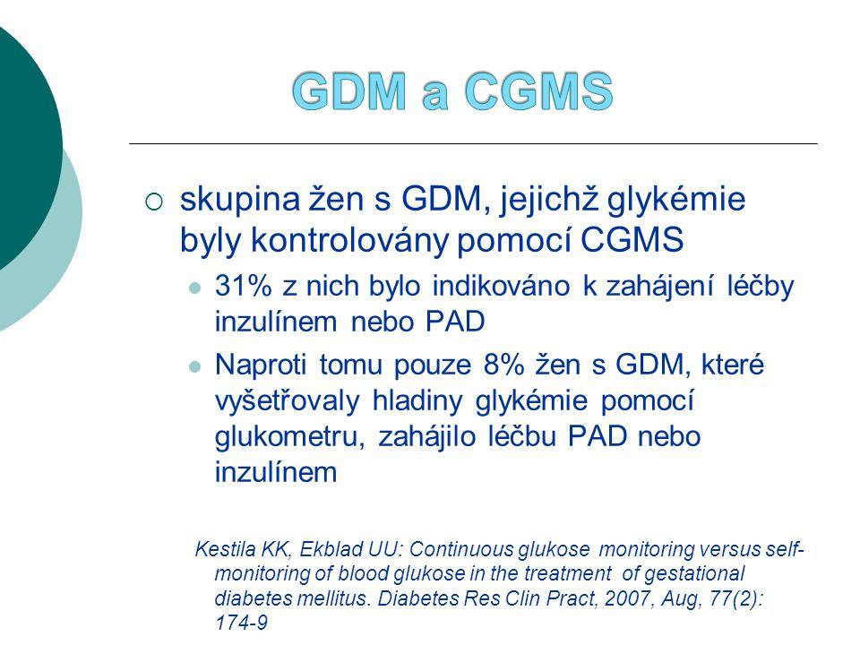 GDM a CGMS skupina žen s GDM, jejichž glykémie byly kontrolovány pomocí CGMS. 31% z nich bylo indikováno k zahájení léčby inzulínem nebo PAD.