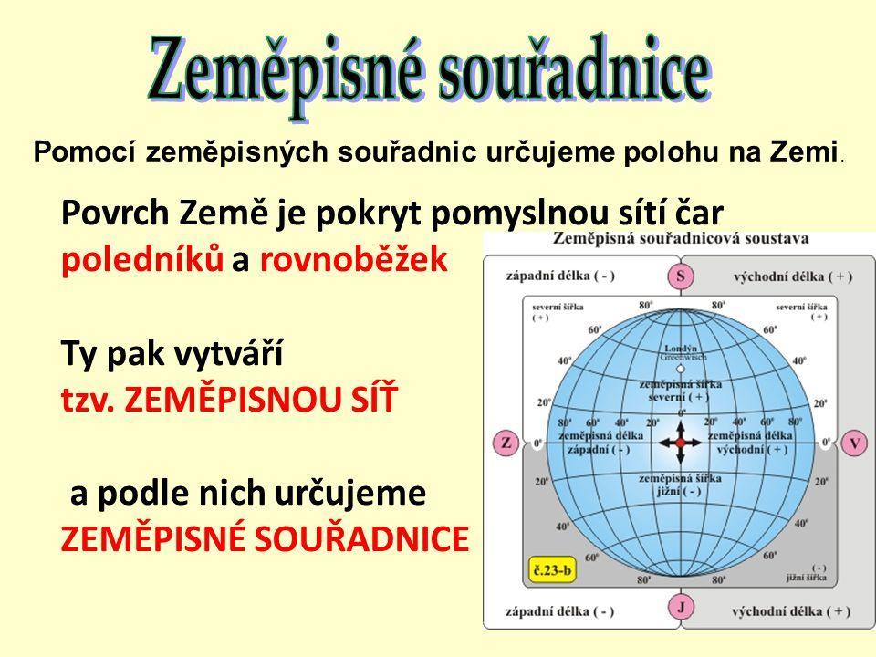 Povrch Země je pokryt pomyslnou sítí čar poledníků a rovnoběžek