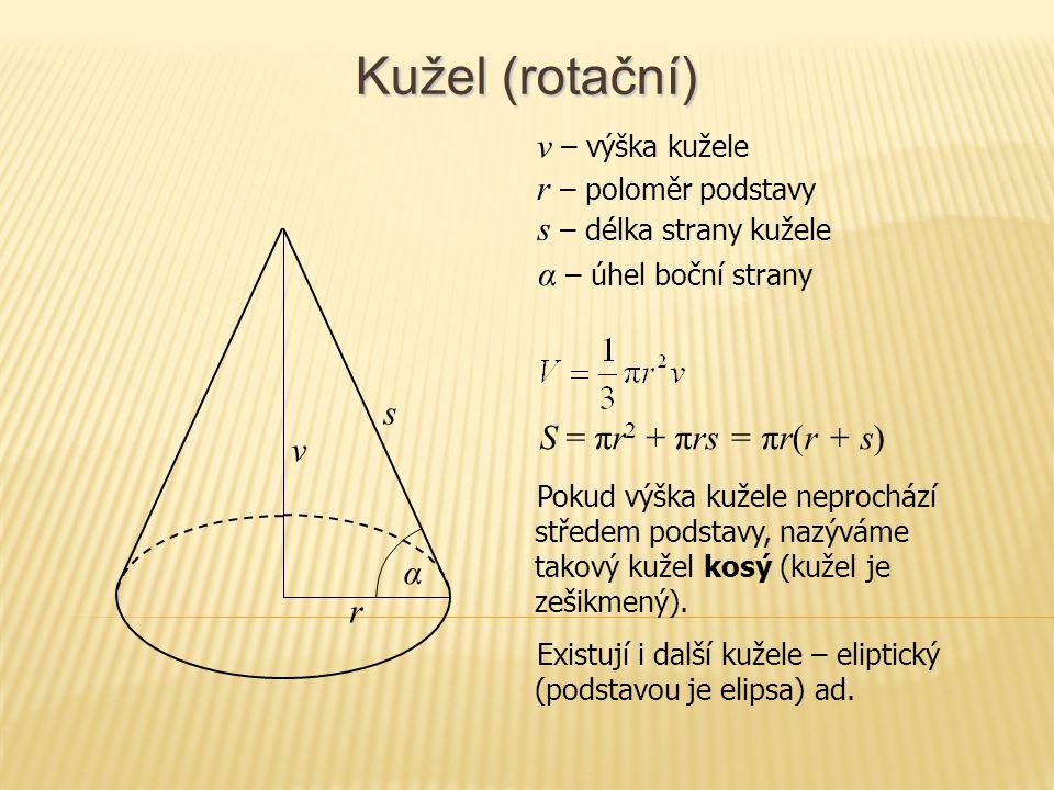 Kužel (rotační) v – výška kužele r – poloměr podstavy