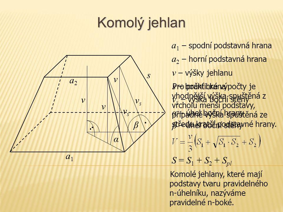 Komolý jehlan a1 – spodní podstavná hrana a2 – horní podstavná hrana