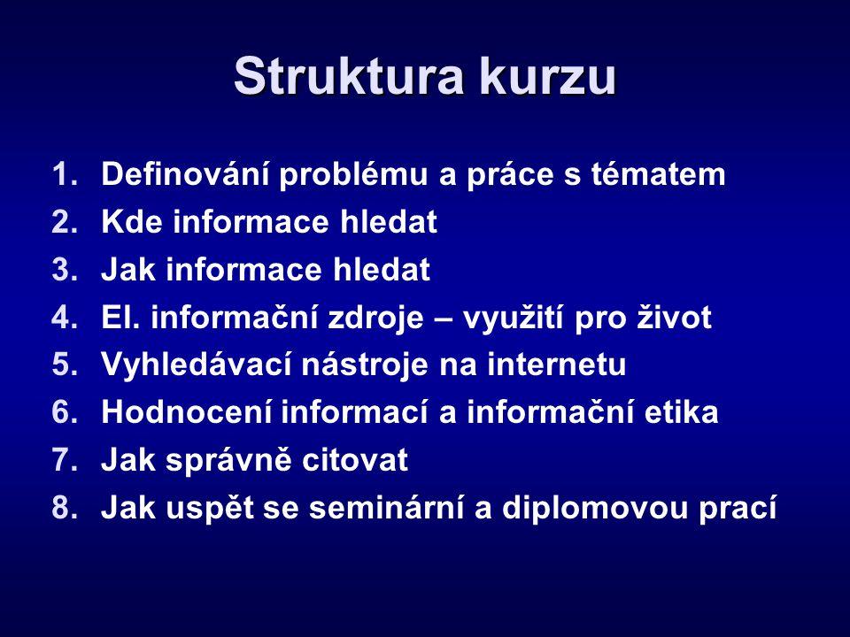 Struktura kurzu Definování problému a práce s tématem