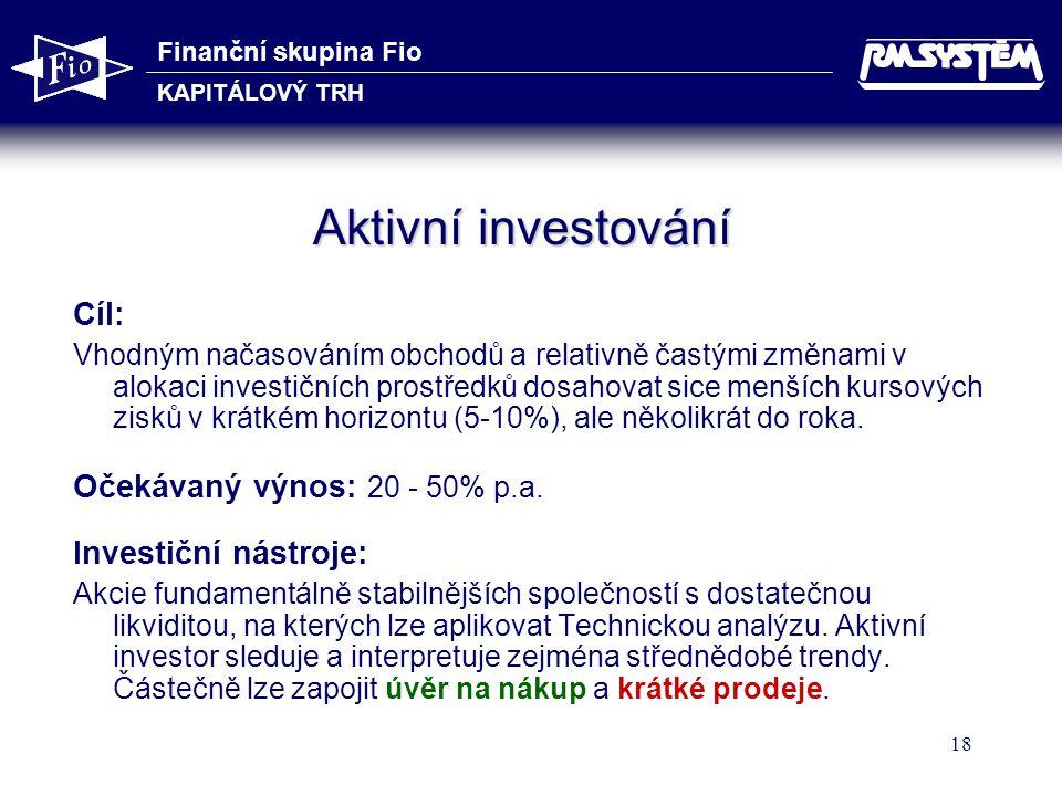Aktivní investování Cíl: Očekávaný výnos: 20 - 50% p.a.