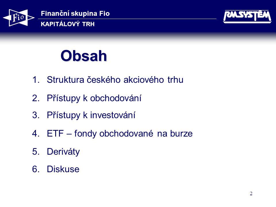 Obsah Struktura českého akciového trhu Přístupy k obchodování