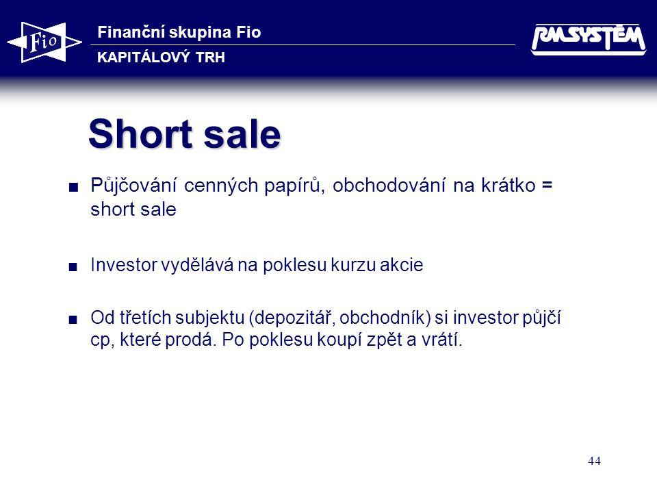 Short sale Půjčování cenných papírů, obchodování na krátko = short sale. Investor vydělává na poklesu kurzu akcie.