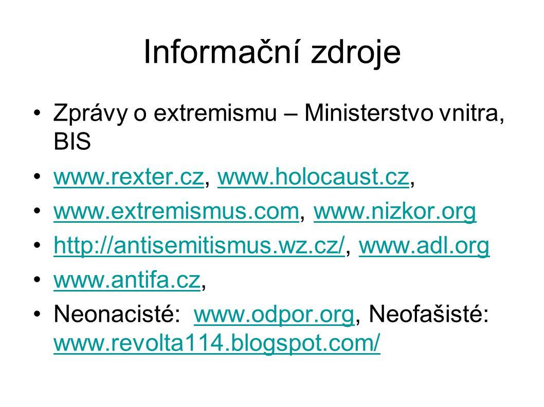 Informační zdroje Zprávy o extremismu – Ministerstvo vnitra, BIS