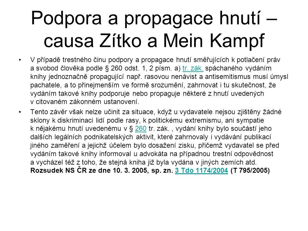 Podpora a propagace hnutí – causa Zítko a Mein Kampf