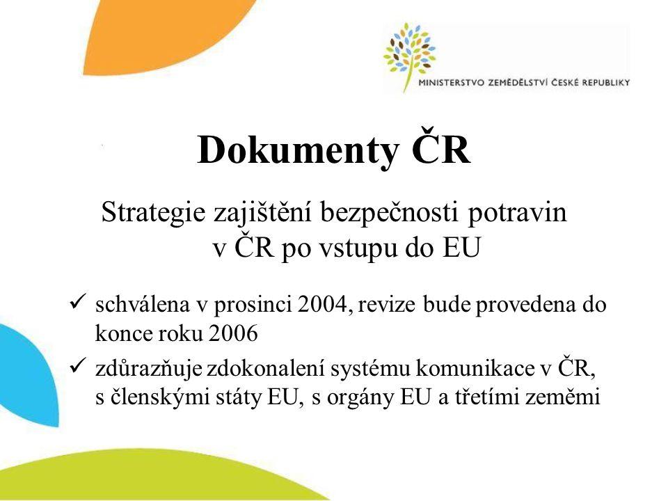 Strategie zajištění bezpečnosti potravin v ČR po vstupu do EU