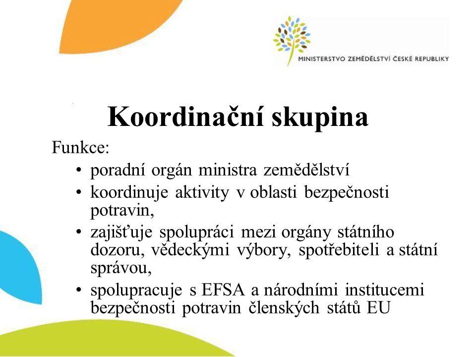 Koordinační skupina Funkce: poradní orgán ministra zemědělství