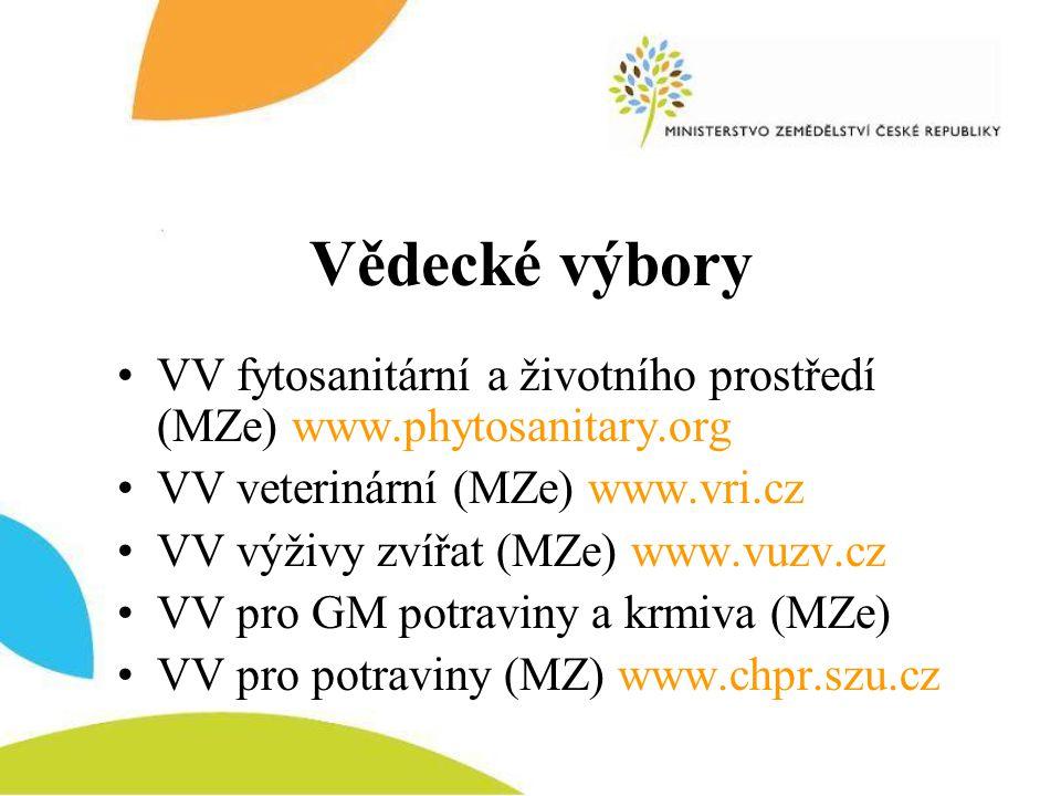Vědecké výbory VV fytosanitární a životního prostředí (MZe) www.phytosanitary.org. VV veterinární (MZe) www.vri.cz.
