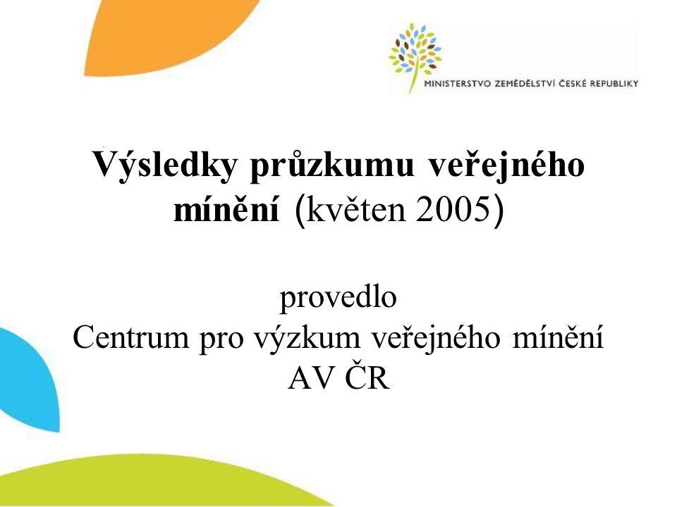 Výsledky průzkumu veřejného mínění (květen 2005) provedlo Centrum pro výzkum veřejného mínění AV ČR