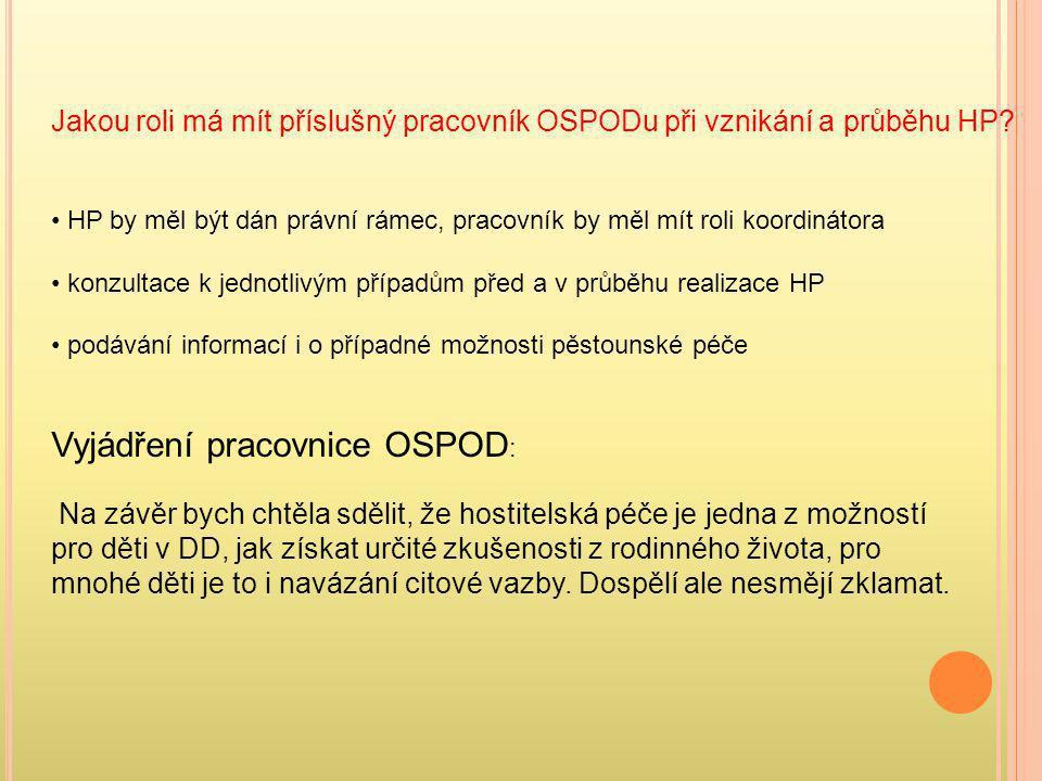 Vyjádření pracovnice OSPOD: