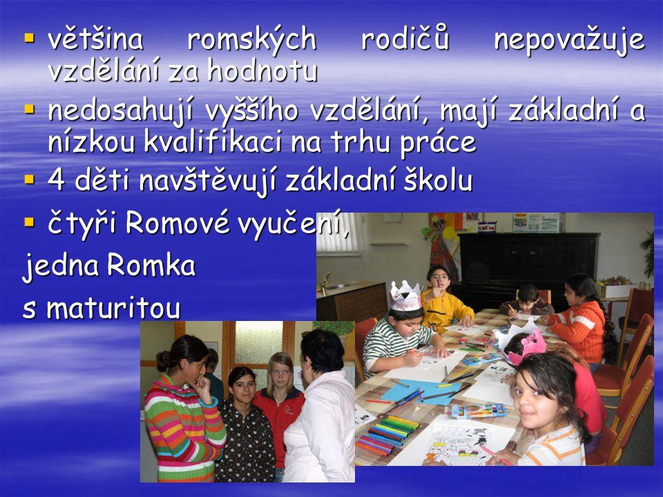 většina romských rodičů nepovažuje vzdělání za hodnotu