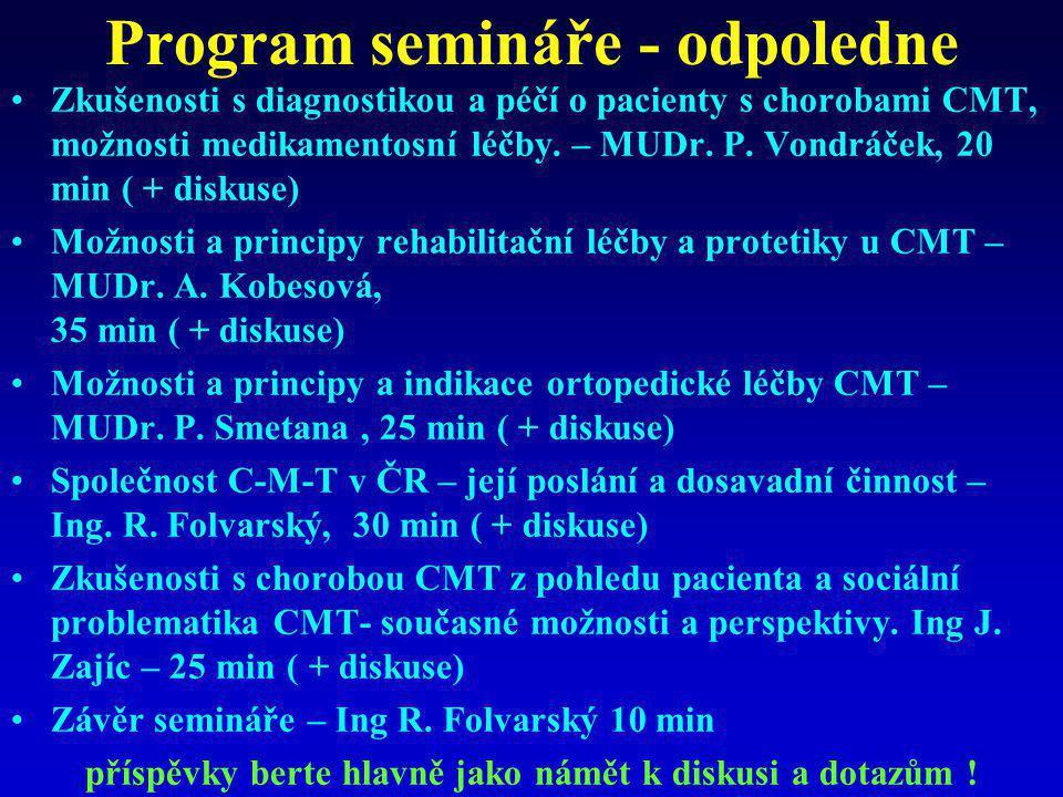 Program semináře - odpoledne