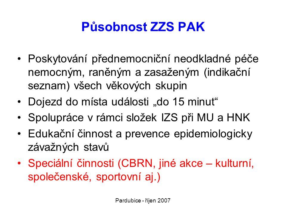 Působnost ZZS PAK Poskytování přednemocniční neodkladné péče nemocným, raněným a zasaženým (indikační seznam) všech věkových skupin.