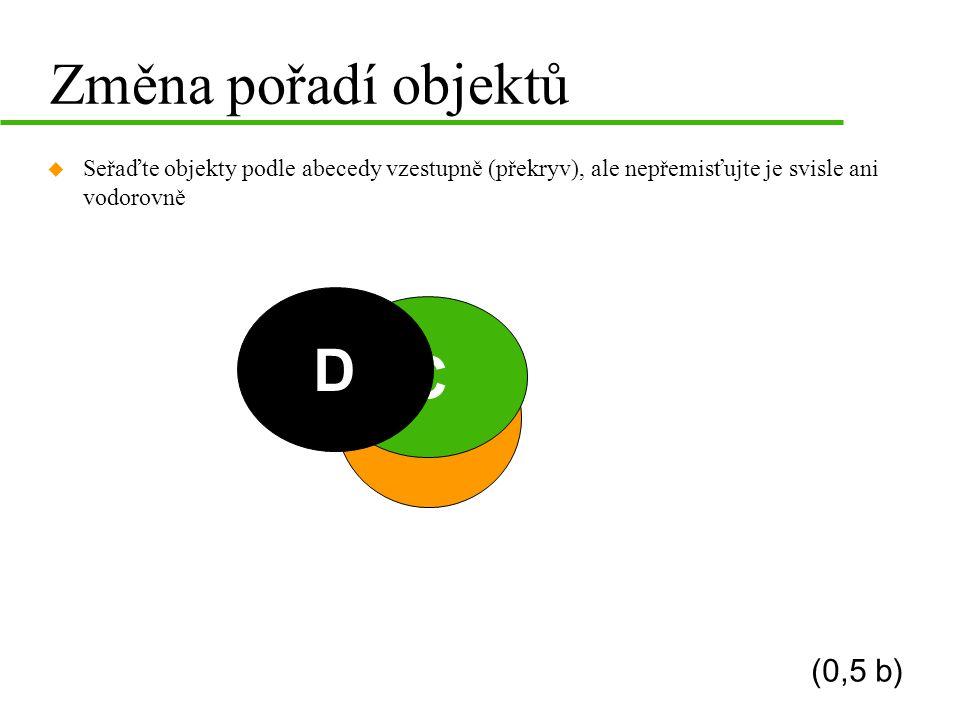 Změna pořadí objektů D C B A (0,5 b)
