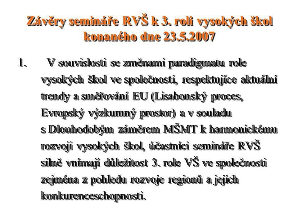 Závěry semináře RVŠ k 3. roli vysokých škol konaného dne 23.5.2007