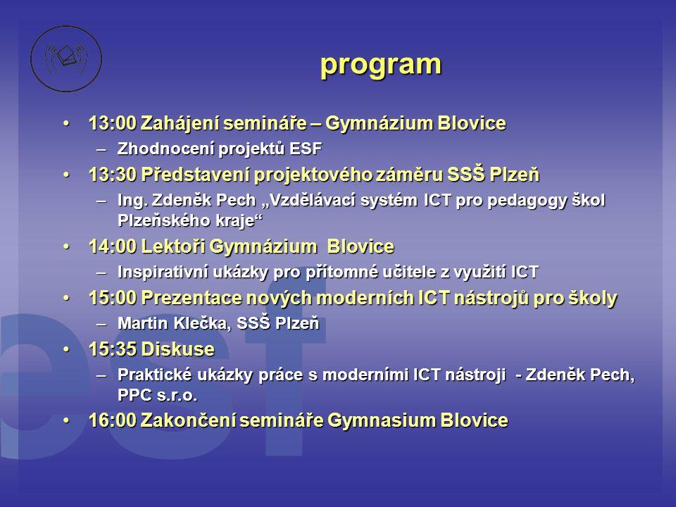 program 13:00 Zahájení semináře – Gymnázium Blovice