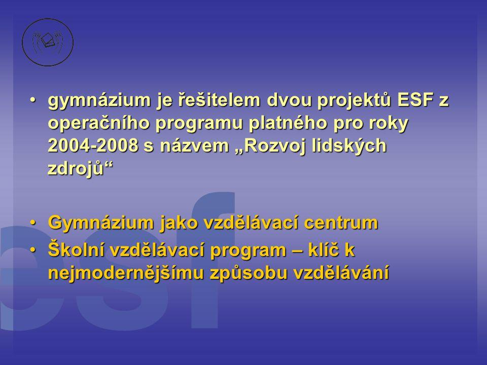 """gymnázium je řešitelem dvou projektů ESF z operačního programu platného pro roky 2004-2008 s názvem """"Rozvoj lidských zdrojů"""