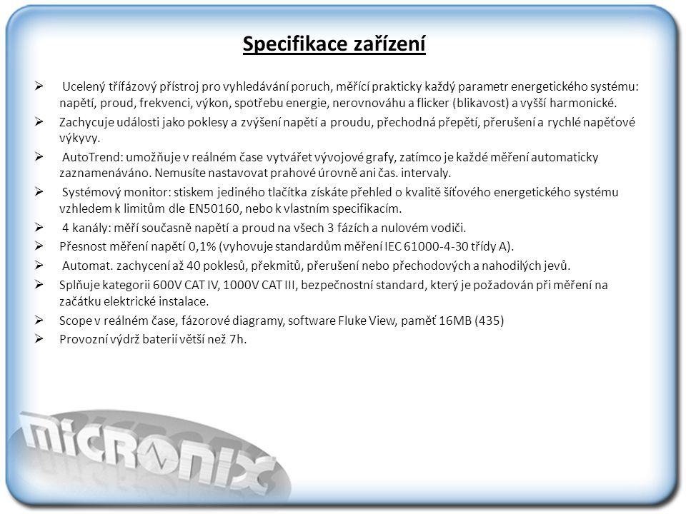 Specifikace zařízení