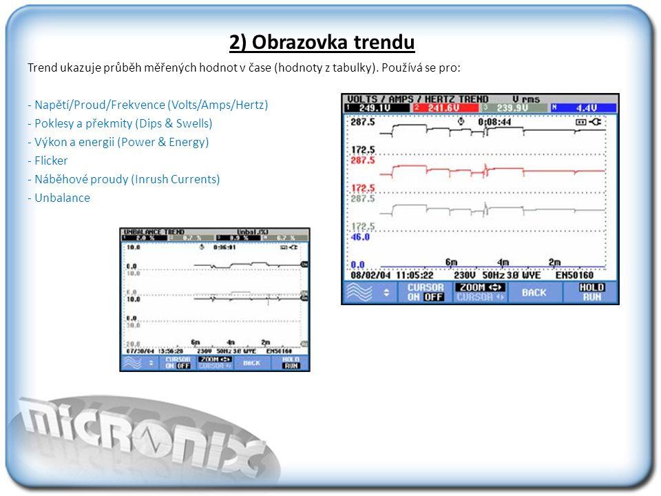 2) Obrazovka trendu Trend ukazuje průběh měřených hodnot v čase (hodnoty z tabulky). Používá se pro: