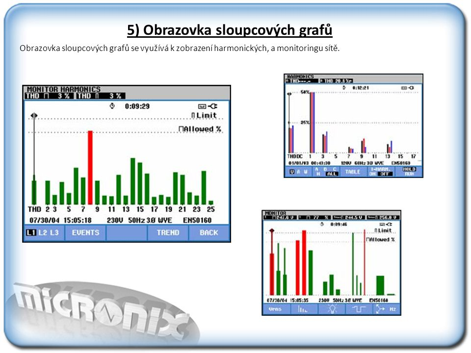 5) Obrazovka sloupcových grafů