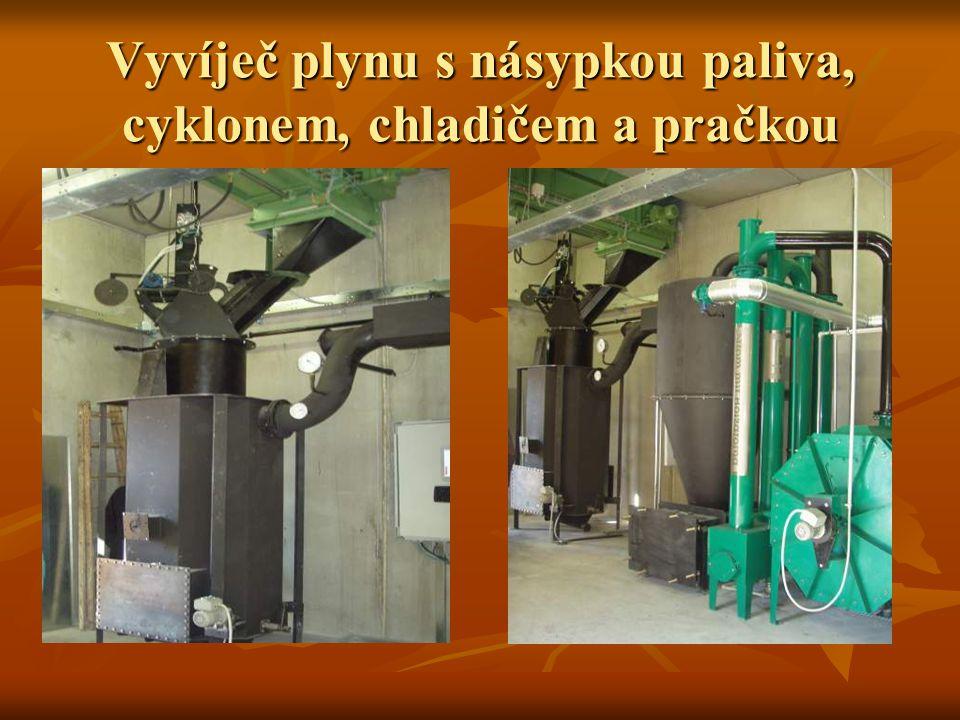 Vyvíječ plynu s násypkou paliva, cyklonem, chladičem a pračkou