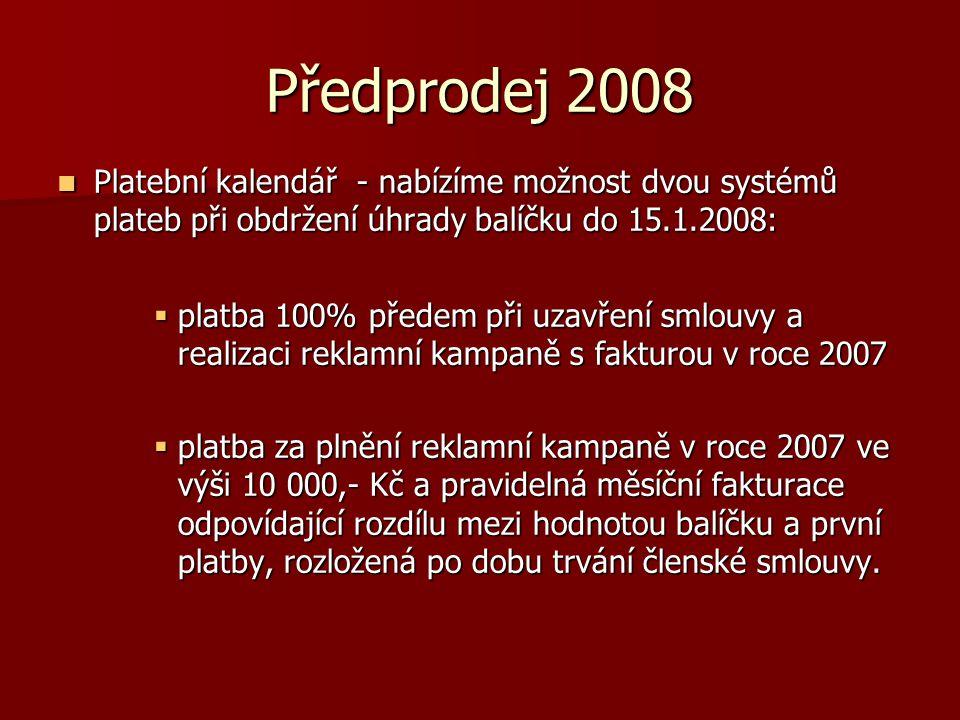 Předprodej 2008 Platební kalendář - nabízíme možnost dvou systémů plateb při obdržení úhrady balíčku do 15.1.2008: