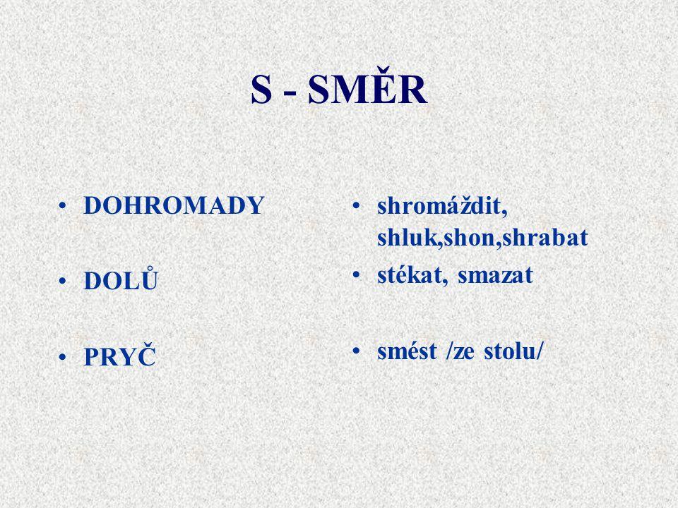 S - SMĚR DOHROMADY DOLŮ PRYČ shromáždit, shluk,shon,shrabat