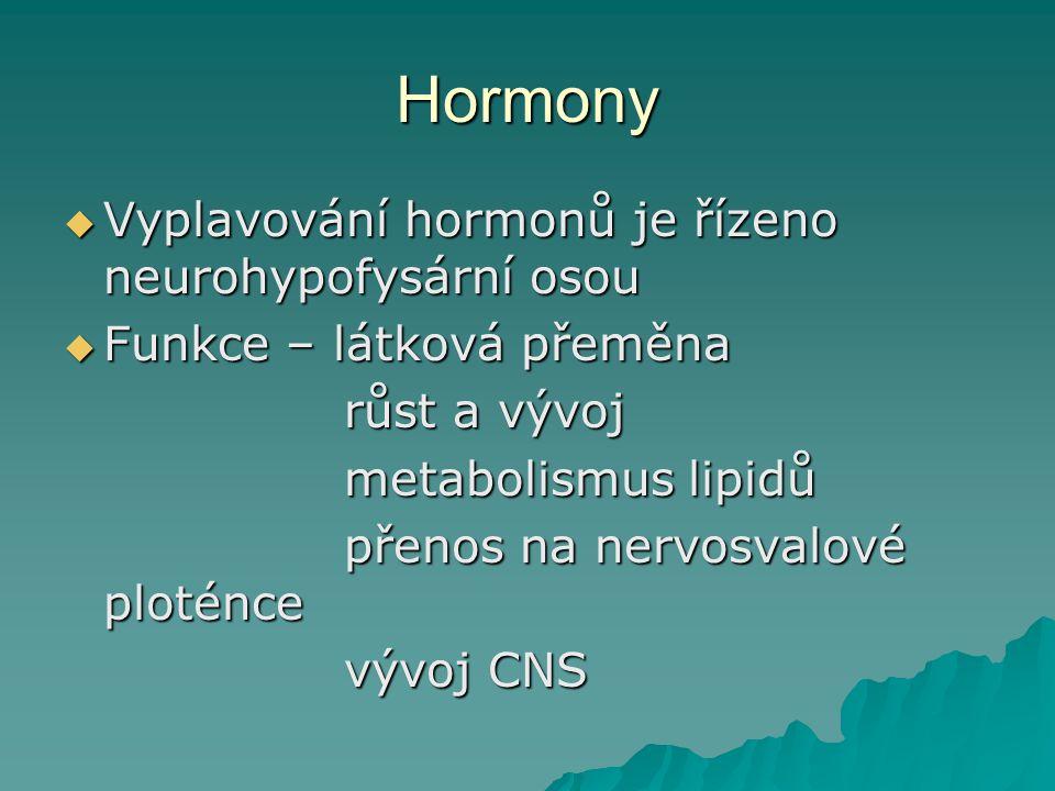 Hormony Vyplavování hormonů je řízeno neurohypofysární osou