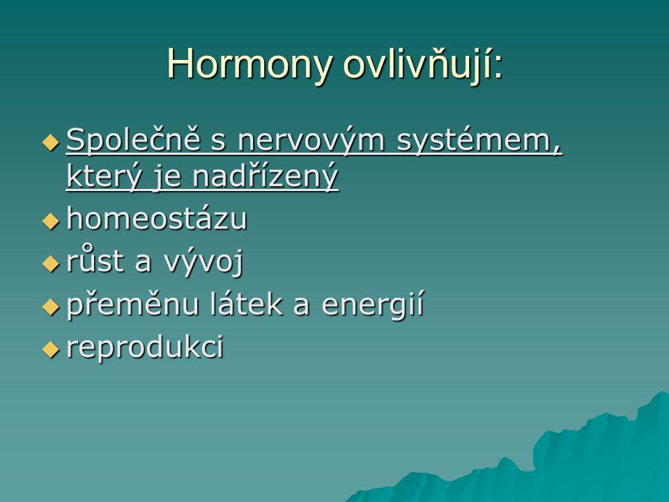 Hormony ovlivňují: Společně s nervovým systémem, který je nadřízený