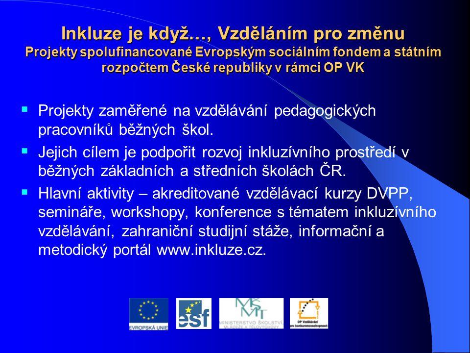 Inkluze je když…, Vzděláním pro změnu Projekty spolufinancované Evropským sociálním fondem a státním rozpočtem České republiky v rámci OP VK